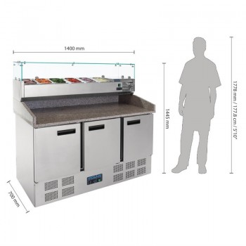 Polar Pizza Prep Counter Fridge 368Ltr