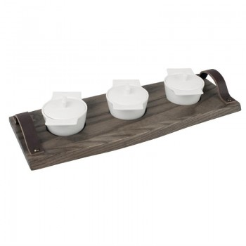 Olympia Ash Wood Serving Platter with Leather Handles 370mm