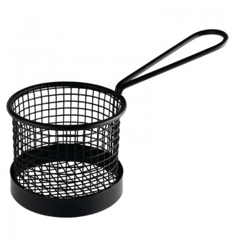 Olympia Round Chip Presentation Basket With Handle Black