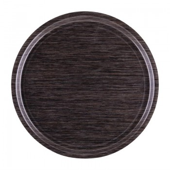 Roltex Melamine Round Non-Slip Service Tray Wengé 450(Ø)mm