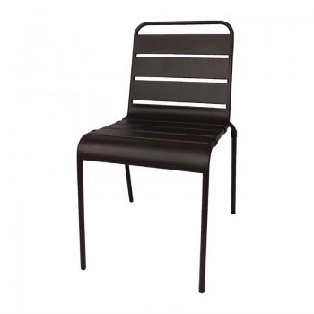 Bolero Black Slatted Steel Side Chairs (Pack of 4)