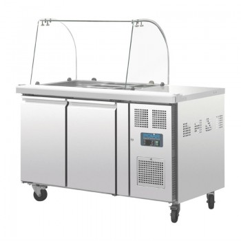 Polar Two Door Refrigerated Gatronorm Saladette Counter With Sneeze Guard