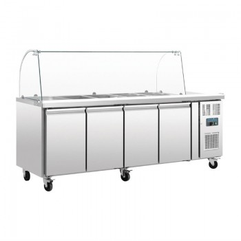 Polar Four Door Refrigerated Gatronorm Saladette Counter With Sneeze Guard