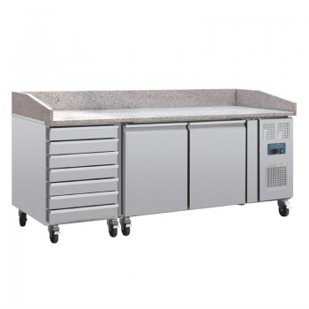 Polar Two Door Pizza Counter with Marble Top and Dough Drawers 290Ltr