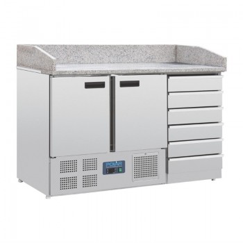 Polar Two Door Pizza Counter with Marble Top, Dough Drawers and Bottom Compressor