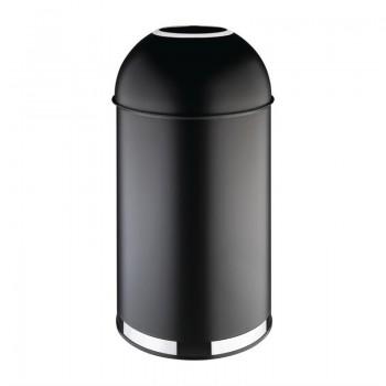 Bolero Steel Open Lid Bullet Bin Black 40Ltr