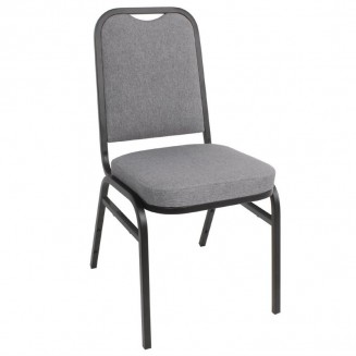 Bolero Steel Banqueting Chair Square Back with Grey Plain Cloth (Pack of 4)