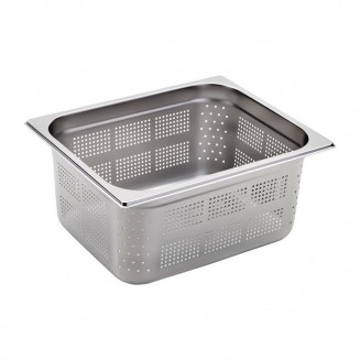 Gastro-M Stainless Steel Perforated Gastronorm Container GN 2/3 - 200mm Deep