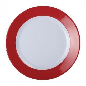 Kristallon Gala Colour Rim Melamine Plate Red 195mm