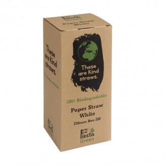 Fiesta Green Biodegradable Paper Straws White