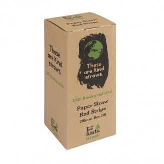 Fiesta Green Biodegradable Paper Straws Red Stripes