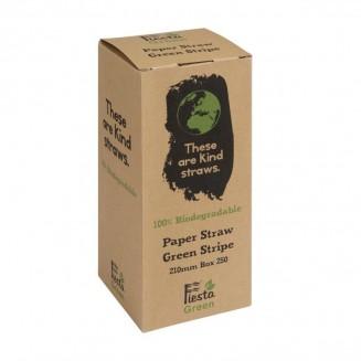 Fiesta Green Biodegradable Paper Straws Green Stripes