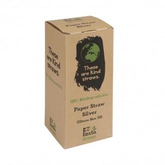 Fiesta Green Biodegradable Paper Straws Silver