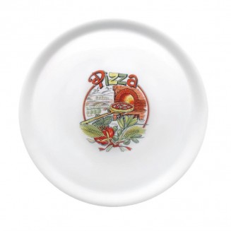 Saturnia Porcelain Pizza Plate 310mm with ''Pizza'' Décor