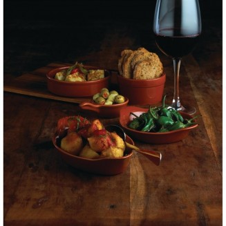 Olympia Mediterranean Pan Shape Miniature Bowls Rustic Brown 115 x 68mm