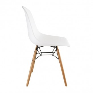 Bolero PP Moulded Side Chair White with Spindle Legs Pack of 2