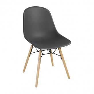Bolero PP Moulded Side Chair Charcoal with Spindle Legs Pack of 2