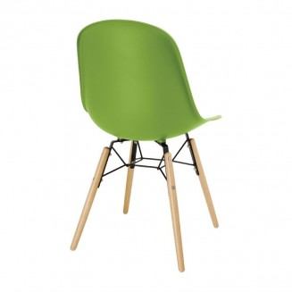 Bolero PP Moulded Side Chair Green with Spindle Legs Pack of 2