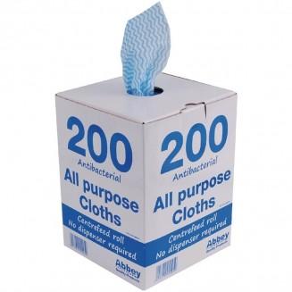 Jantex All-Purpose Antibacterial Cloths Blue (200 Pack)