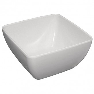 Curved White Melamine Bowl 8in