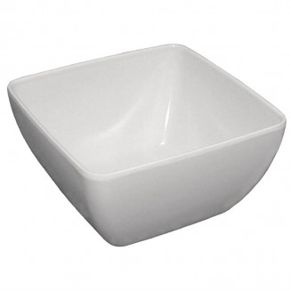 Curved White Melamine Bowl 11in