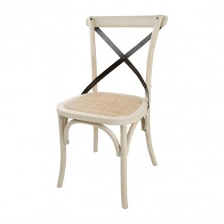 Bolero Wooden Dining Chair with Metal Cross Backrest