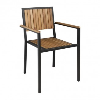 Bolero Steel & Acacia Wood Arm Chair Pack of 4