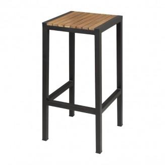 Bolero Black Steel & Acacia Wood Bar Stools Pack of 2