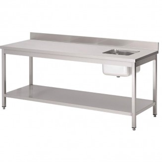 Gastro M tables with drainerbowl and upstand, 140(l)x70(b)x85(h)cm, bowl on the right